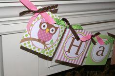 Owl Happy Birthday Banner $25