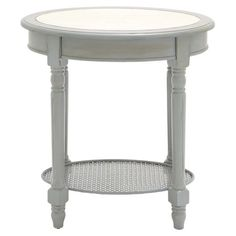 Display a vase of bright blooms or your favorite family photos in timeless style with this white wood end table, featuring fluted legs and a caned bottom dis...