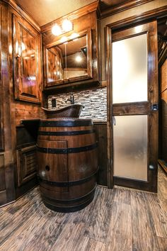 Premier Copper Products' Wine Barrel Vanities are a great way to make a statement in any full-size bath or powder room. Our friends at Outback Customs did an outstanding job with this barrel (WBV_SF05W) in one of their custom trailers.