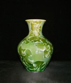 "Ellary Blair is a potter.  This is her 9"" crystalline green vase."