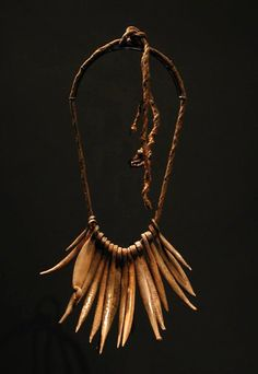 Africa | Cache sexe (or necklace?) from northern Cameroon or Chad | Forged iron fingers and pods on cord