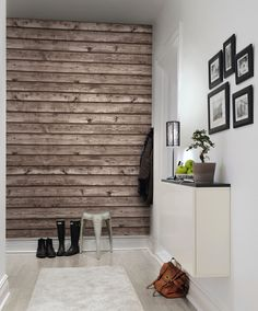 A favorite wallpaper from Rebel Walls, Horizontal Boards, brown! Unique Wallpaper, Wall Wallpaper, Wood Effect Wallpaper, Floor Finishes, My Room, Decorating Tips, Wall Murals, Wall Art, Sweet Home