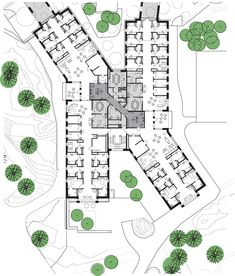 hotel arquitectura Gallery of HELIX, Forensic Psychiatric Clinic of Stockholm / BSK Arkitekter - 17 Hotel Design Architecture, Healthcare Architecture, Concept Architecture, School Architecture, Architecture Drawing Plan, Healthcare Design, Hospital Floor Plan, Hospital Plans, General Hospital