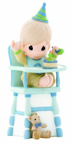 "Precious Moments ""Hip, Hip, Hooray, You're One Year Old Today Boy Figurine Disney Precious Moments, Precious Moments Quotes, Precious Moments Figurines, Biscuit, Fondant Figures, 1st Boy Birthday, Birthday Ideas, One Year Old, Collectible Figurines"