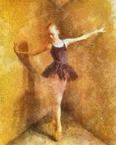 """Jewelry Box Ballerina"" Impressionist painted photograph created on iPad. by Coy Townson"