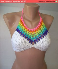 Flash Sale! Crochet Rainbow Halter Top ~Your size AA, A, B, C, D, Dd Cups~ Music Festival Crop Top, Yoga or Belly Dance Bra, Beach Wear by stitchingseagull on Etsy https://www.etsy.com/listing/243314962/flash-sale-crochet-rainbow-halter-top