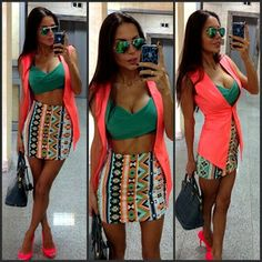 Tribal print skirt.. dnt like the crop top.. i would have use a white top to bring out the look