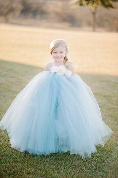 darling blue flower girl tutu #flowergirl #tutu #weddingchicks http://www.weddingchicks.com/2014/04/10/blue-and-ivory-shabby-chic-wedding/