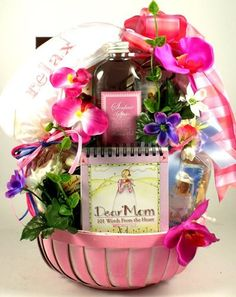 Dear Mom: Tell your mom how dear you think she is with this thoughtful and beautiful gift basket full of keepsakes, luxurious spa products and delicious gourmet treats! Preschool Mothers Day Gifts, Homemade Mothers Day Gifts, First Mothers Day Gifts, Mother Gifts, Gifts For Mom, Family Gifts, Mothers Day Baskets, Mother's Day Gift Baskets, Decorative Soaps