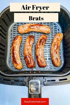 These Easy Air Fryer Brats can be made from fresh or frozen and have that amazing grilled flavor. You will love these because they cook very quickly! I like to add onions and beer for a little flavor, but feel free to use your own favorite flavors and pairing. Air Fryer Oven Recipes, Air Frier Recipes, Air Fryer Dinner Recipes, Brats Recipes, Oven Baked Chicken Parmesan, Air Fried Food, Meal Prep Guide, Air Fryer Healthy, Easy Meals