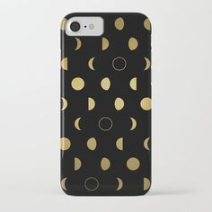Gold Moon Phases iPhone Case by laurafrere Moon Phases, Graphic, Illustration, Iphone Cases, Patterns, Gold, Stuff To Buy, Products, Pattern