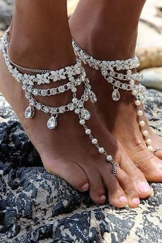 Almeta Dainty Pearl Barefoot Sandals Barefoot Sandals & Anklets by Body Kandy Couture. women's beach wedding accessories feet jewelry fashion Barefoot Sandals Wedding, Beach Wedding Shoes, Beach Shoes, Bridal Shoes, Bridal Jewelry, Barefoot Beach, Hippie Shoes, Bohemian Style Jewelry, Boho Style