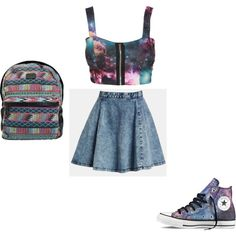 WOW how much i love this top and shoes, Galaxy is sooo trendy xxx Skater Skirt, Shoe Bag, Skirts, Polyvore, Blog, Stuff To Buy, Shopping, Collection, Shoes