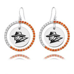 Sterling Silver Texas El Paso Miners Color CZ Circle Earrings