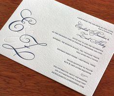 formal scroll letterpress wedding invitation by invitations by ajalon