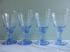 Vintage Libbey Glass Sirrus Pattern Blue by used2bnewVintage