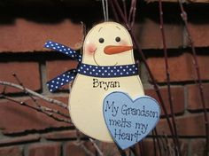 Personalized Snowman Ornament  My Grandson Melts my by debwwu