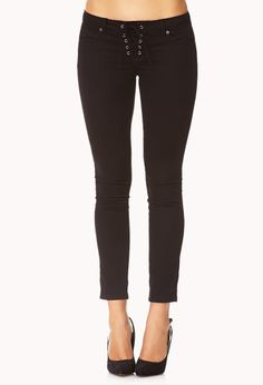 Life In Progress™ Lace-Up Skinny Jeans | FOREVER21 - 2000091989