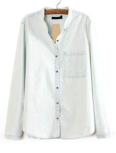 53d5aed530f SHEIN offers Light Blue Long Sleeve Pocket Denim Blouse   more to fit your  fashionable needs.