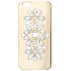 Miss Selfridge Gem Phone Case ($18) ❤ liked on Polyvore featuring accessories, tech accessories, gold color and miss selfridge
