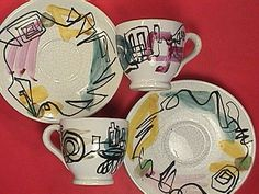 Pair of Abstract Moderne Faience Espresso Cups & Saucers granni kitchen, vintag dish, mid centuri, fabul vintag, modern kitchen, centuri modern, portugues potteri
