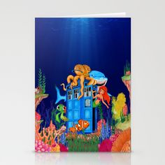 Blue phone Box Under the sea Stationery Card #tardis #doctorwho #bluephonebox #phonebooth #sea #sketch #art