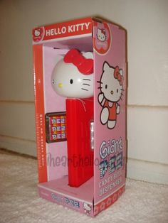 Hello Kitty Giant Pez Dispenser: Front View [12 inch tall with 12 packages of Pez candies.]