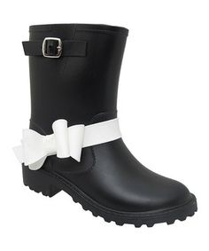 Love this Yokids Black & White Melinda K Rain Boot - Kids by Yokids on #zulily! #zulilyfinds
