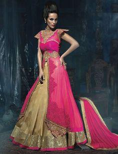 Pink Golden Georgette Dupion Resham Stone Embroidery Long Anarkali Suit $153.94 #weddingsuit #anarkalisuit #festivalsuit #designersuit #partywearsuit #eidcollection #fashionumang