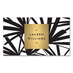 Elegant Black and White Palm Fronds Business Card Template - fully customizable