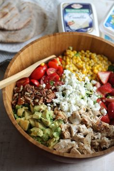 Healthy Summer Chicken Chopped Salad with Strawberries, Avocado + Feta Crumbles. #artofcheese