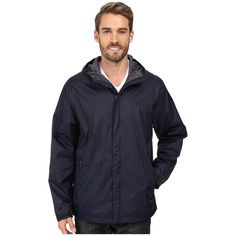 Dockers Lightweight Rain Hoodie (Navy) Men's Sweatshirt ($70) ❤ liked on Polyvore featuring men's fashion, men's clothing, men's hoodies, mens sweatshirts and hoodies, mens hooded sweatshirts, mens zip front hoodie, mens hoodies and lightweight mens hoodies