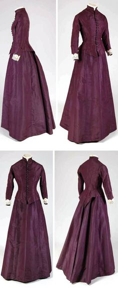 Dress: bodice from 1880, skirt from 1900. Purple ribbed silk lined with brown cotton. Bodice falls over in point front & rear. High-necked collar, long curved sleeves. Mode Museum, Antwerp