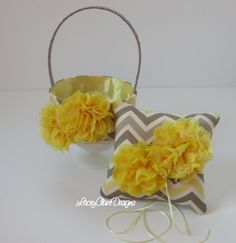 Flower Girl Basket and Wedding Ring Pillow by LaceyClaireDesigns, $84.00
