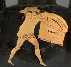 Amphora BC) provides wealth of info on hoplite's panoply., concavity of shield & apron used to deflect arrows Ancient Greek Art, Ancient Greece, Toledo Museum Of Art, Art Museum, Greek Shield, Corinthian Helmet, Classical Greece, Greek Warrior, Greek Pottery