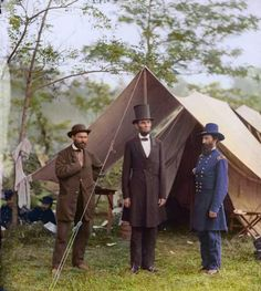 Allan Pinkerton, President Lincoln, and Maj. Gen. John A. McClernand; at the main eastern theater of the war, Battle of Antietam, Sept.-Oct., 1862.