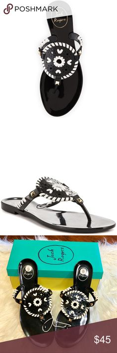9be3499e765efc Jack Rogers Georgica Jelly Sandals Black White 9 Jack Rogers Georgica Jelly Sandals  NEW in Box