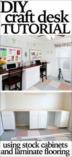 DIY craft desk tutorial -- double desk!!!!!! Using base kitchen cabinets and plywood covered with laminate flooring for the top