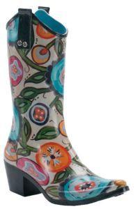 Beehive Rain Bops Ladies Multi Colored Floral Urban Cowgirl Rain Boots