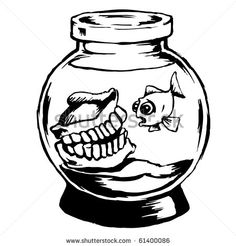 Funny Aquarium Illustration In Black And White Of A Fish Bowl With Dentures And A Single Goldfish - 61400086 : Shutterstock