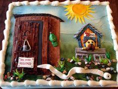 Outhouse Humorous Birthday Cake
