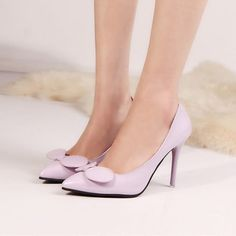 Women-Leather-Shoes-Bow-High-Heels-Nightclub-Pointed-Toe-Stilettos-Party-Shoes