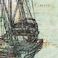 Altes Schiff Print auf antiken Karte von America  von PrintLand, $13.50