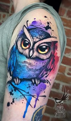 watercolor owl tattoo © tattoo artist Ewa Sroka @ewasrokatattoo ❤❤❤❤❤