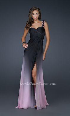 La Femme Black Pink Chiffon Prom Dress with Floral Strap 17239 - Herren- und Damenmode - Kleidung Elegant Dresses, Pretty Dresses, Formal Dresses, Dresses Dresses, Dresses 2016, Homecoming Dresses, Bridesmaid Dresses, Prom Gowns, Beautiful Gowns