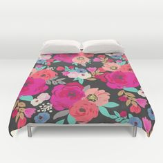 Colorful Floral poppies Black Duvet Cover, pink, coral, red, aqua, periwinkle blue, peach, turq, tan, home decor, bedroom, dorm @society6