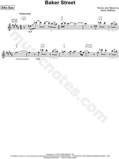 Print and download Baker Street sheet music by Gerry Rafferty arranged for Alto Saxophone. Transcribed Solo in B Major.