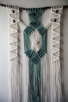 Macrame Wall Hanging Hand Dyed Cotton Rope White by BermudaDream