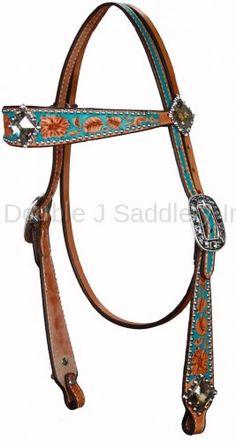 Large Flair Buckaroo Style Headstall by Double J Saddlery.