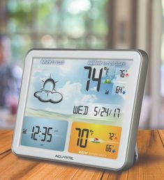 This Jumbo Color Display Weather Station uses patented Self-Calibrating Technology to provide your personal forecast of 12 to 24 hour weather conditions. Weather Display, Weather Instruments, Charitable Donations, Nautical Looks, Temperature And Humidity, Tropical Houses, Digital Alarm Clock, Weather Conditions, Indoor Outdoor